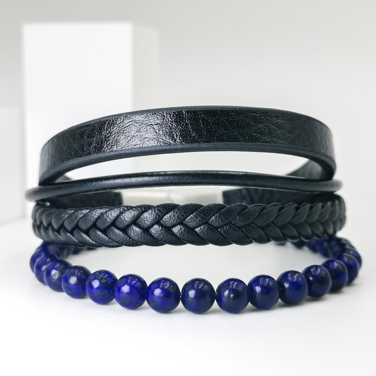 Leather & Pearl Blue Armband bild 1, otroligt vacker armband med grym kombination av läder, stainless steel samt pärlor. Armbandet är unik och väldigt charmig. Passar perfekt som present.