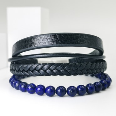Leather & Pearl Blue Leather Armband - SWEVALI