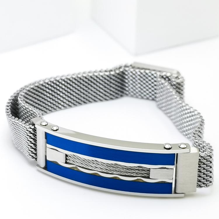 Confident Blue Metal Armband  Bild 2 är en otroligt snygg och elegant herr armband. Hög kvalité Stainless Steel 316 L. Perfekt smycke för present
