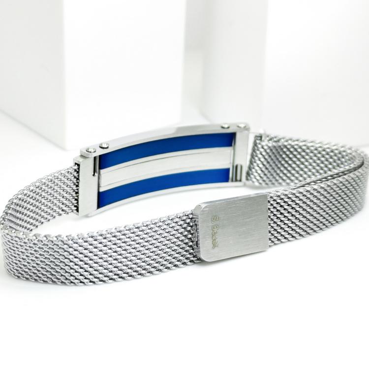 Confident Blue Metal Armband  Bild 3 är en otroligt snygg och elegant herr armband. Hög kvalité Stainless Steel 316 L. Perfekt smycke för present