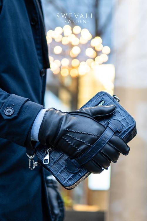 "Leather Clutch Bag ""Coco Blue Night"" Mini Charm - SWEVALI"