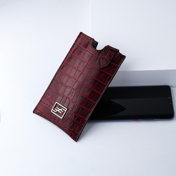 Bild 3 Genuine Leather Phone pouch mobilfodral och lyxig phone case Croco Carmine pattern