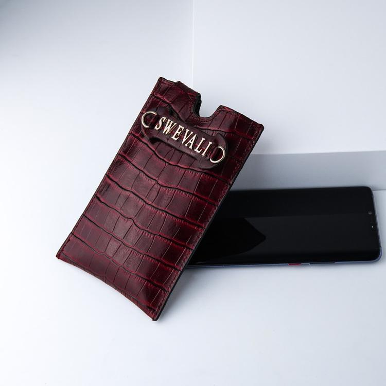 Bild 4 Genuine Leather Phone pouch mobilfodral och lyxig phone case Croco Carmine pattern