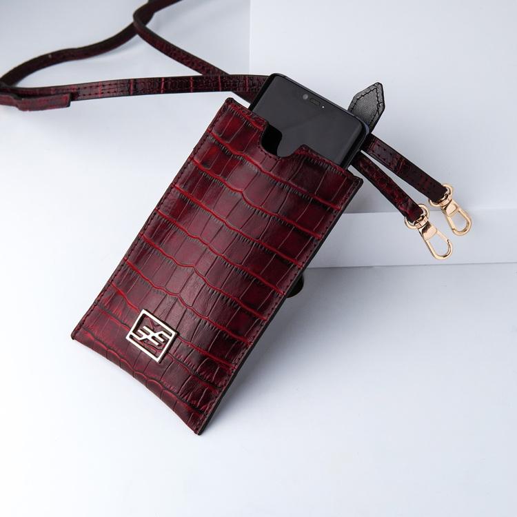 Bild 1 Genuine Leather Phone pouch mobilfodral och lyxig phone case Croco Carmine  pattern