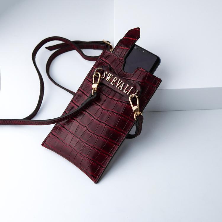 Bild 2 Genuine Leather Phone pouch mobilfodral och lyxig phone case Croco Carmine pattern