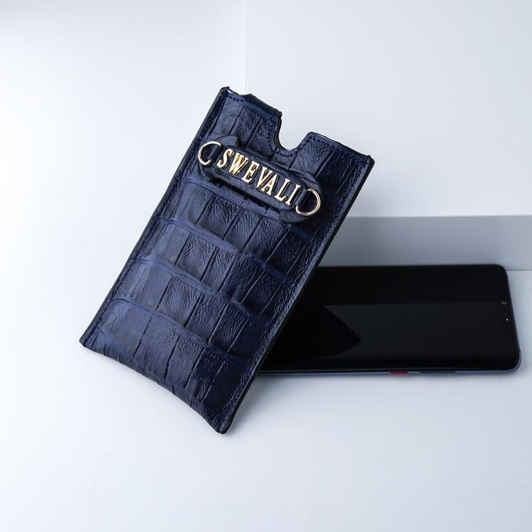 Bild 4 Genuine Leather Phone pouch mobilfodral och lyxig phone case Croco blue night  pattern