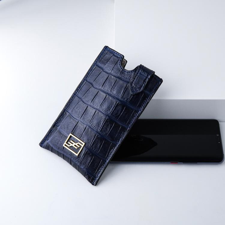 Bild 3 Genuine Leather Phone pouch mobilfodral och lyxig phone case Croco blue night  pattern