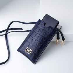 """Leather Sling Phone pouch """"Coco Blue Night"""" The Daily - SWEVALI"""