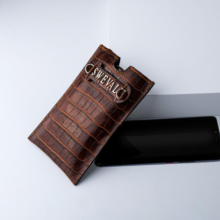 Bild 4 Genuine Leather Phone pouch mobilfodral och lyxig phone case Croco Sahara  pattern