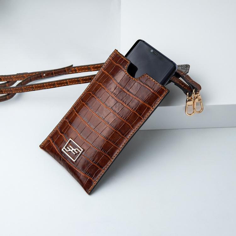Bild 1 Genuine Leather Phone pouch mobilfodral och lyxig phone case Croco Sahara  pattern