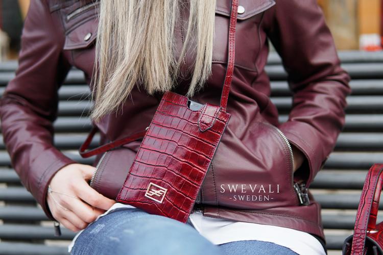 Bild 5 Genuine Leather Phone pouch mobilfodral och lyxig phone case Croco Carmine pattern