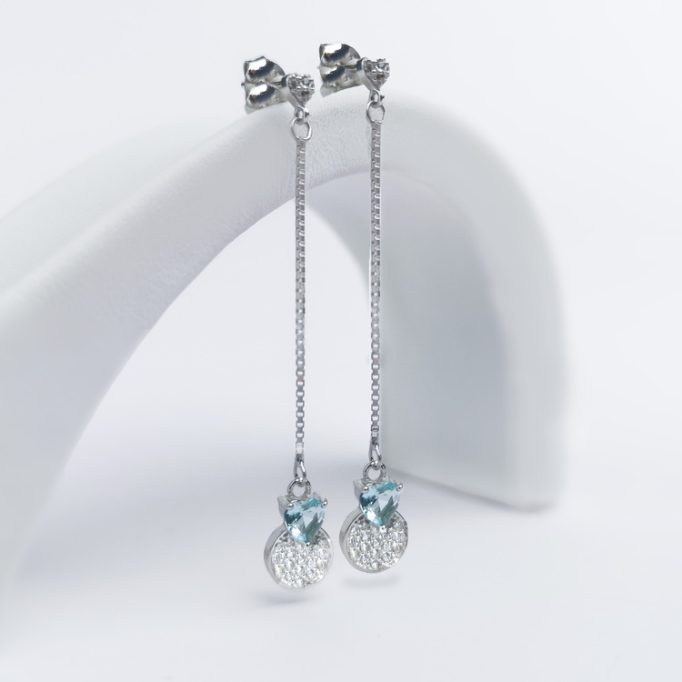 2 - Pendel Heart Silver Örhänge 925 Modern and trendy earings and women jewelry and accessories
