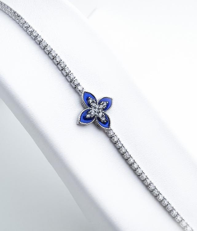 Queen Victoria Blue Secret Silver Armband 925 äkta silver, modern silver armband 1