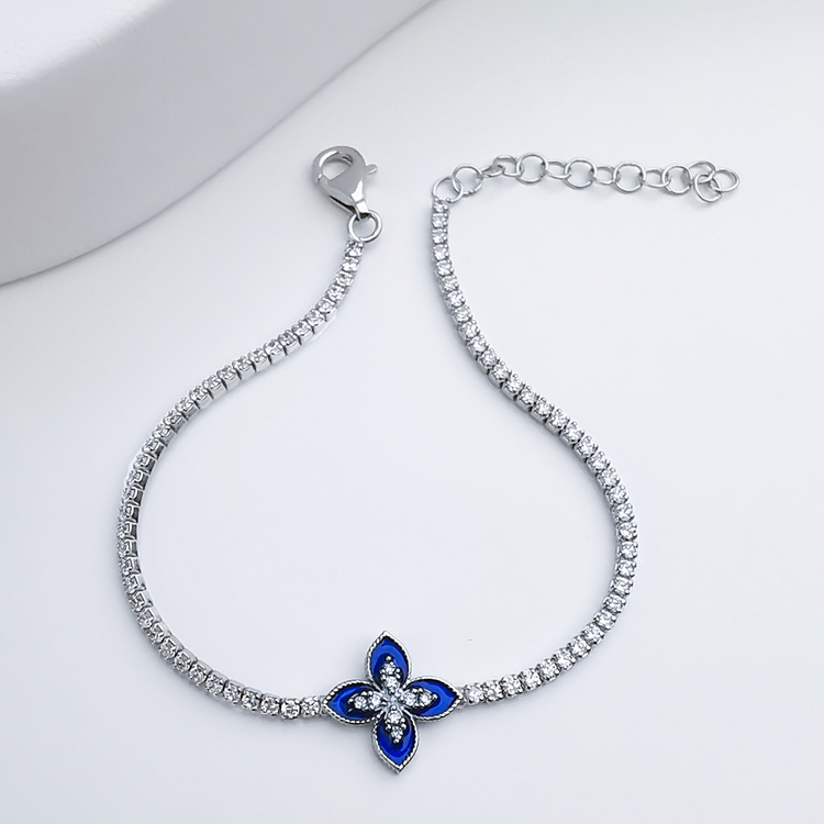 Queen Victoria Blue Secret Silver Armband 925 äkta silver, modern silver armband 5