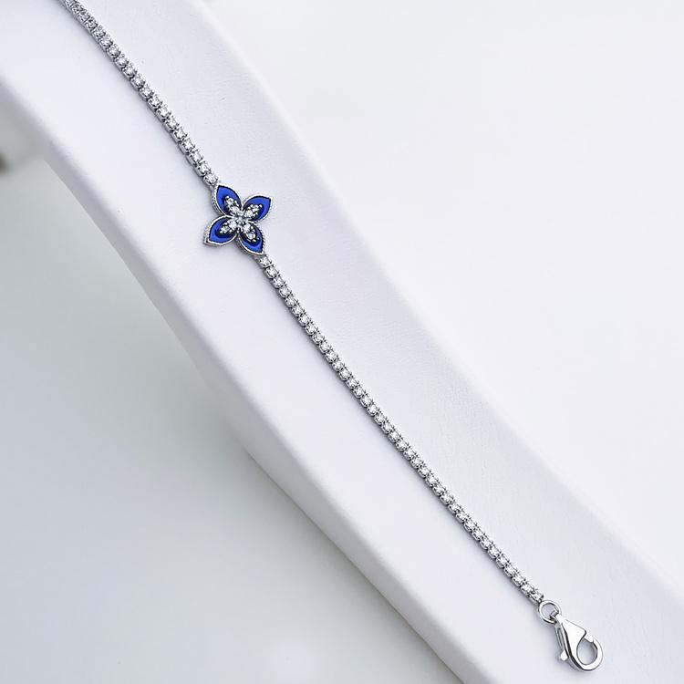 Queen Victoria Blue Secret Silver Armband 925 äkta silver, modern silver armband 4