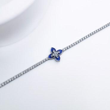 Queen Victoria Blue Secret Silver Armband 925