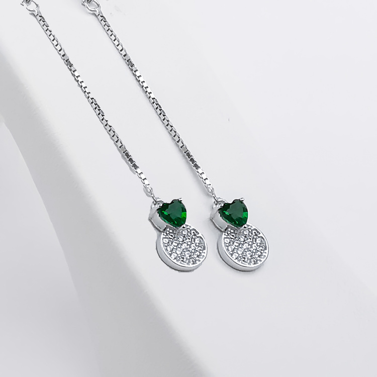 1 - Pendel Green Heart Silver Örhänge 925 Modern and trendy earings and women jewelry and accessories
