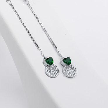 Pendel Green Heart Silver Örhänge 925 - SWEVALI