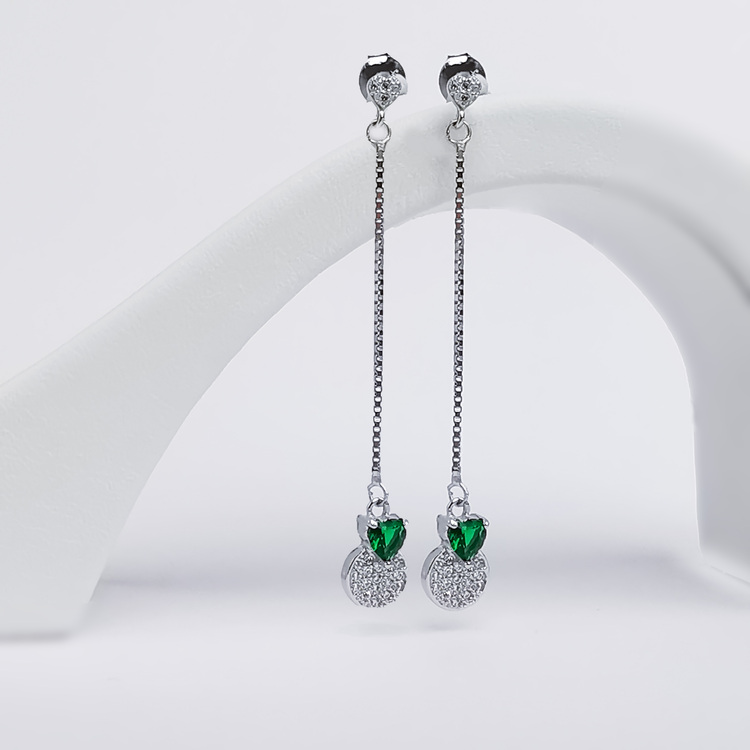 2 - Pendel Green Heart Silver Örhänge 925 Modern and trendy earings and women jewelry and accessories