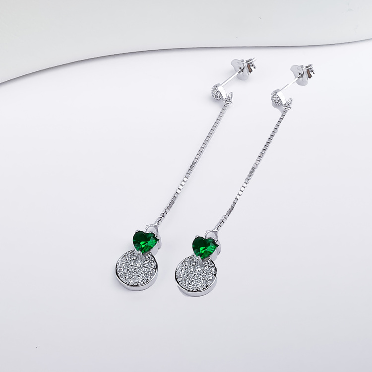 3 - Pendel Green Heart Silver Örhänge 925 Modern and trendy earings and women jewelry and accessories