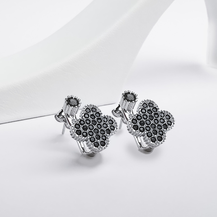 1 - Clover Black Legacy Silver Örhänge 925 Modern and trendy earings and women jewelry and accessories