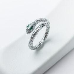 Green Eyed Py-thon Lady Babe Äkta Silver Ring 925 - SWEVALI