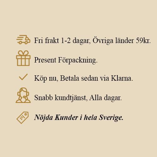 Fri frakt 1-2 dagar, Övriga länder 59 kr. Present Förpackning Köp nu Betala sen via Klarna Snabb kundtjänst