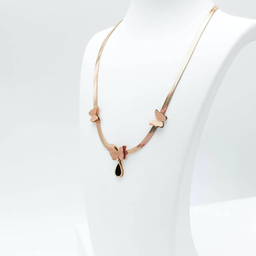 Queen Butterfly Ultimate Beauty Rose Gold Halsband - SWEVALI