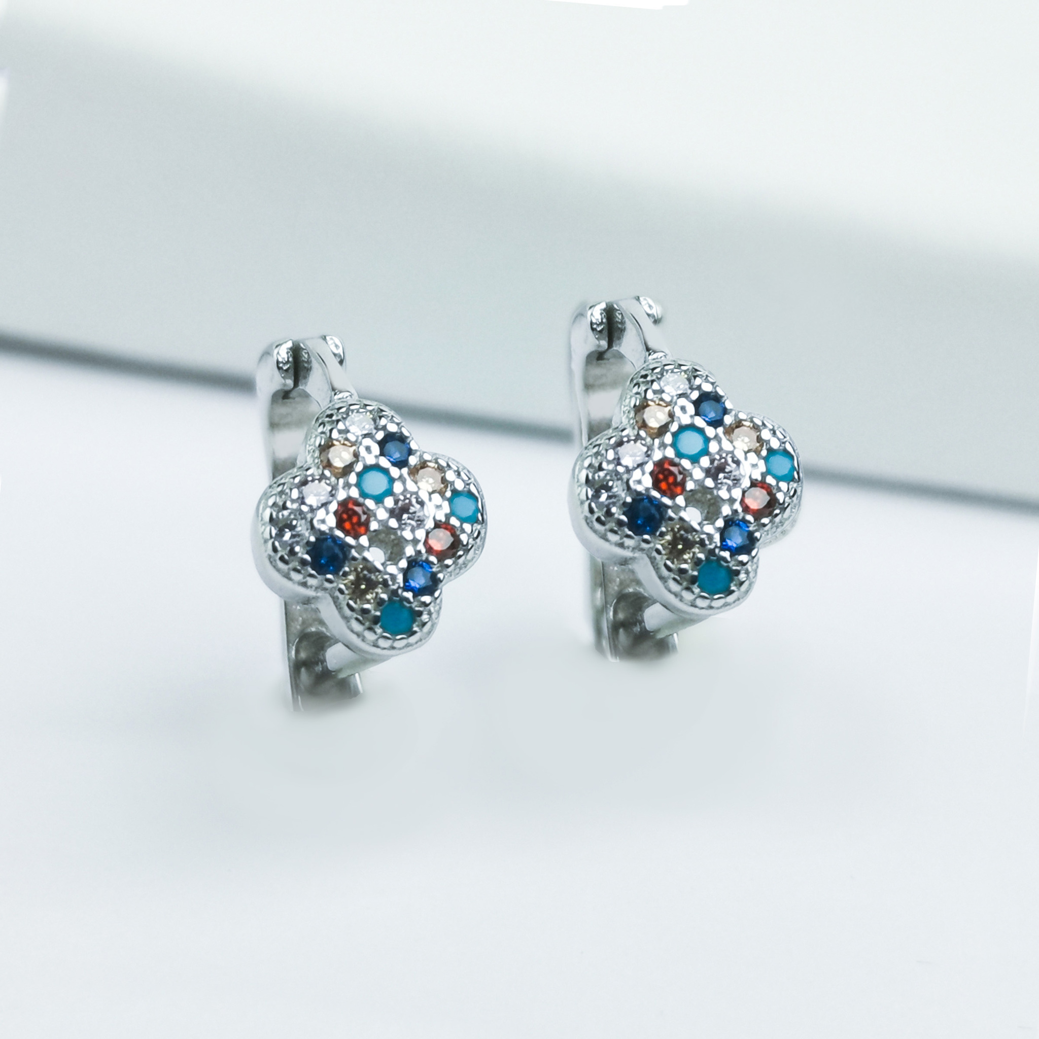 1 - Clover Stones Of Luck Silver Örhänge 925 Modern and trendy earings and women jewelry and accessories