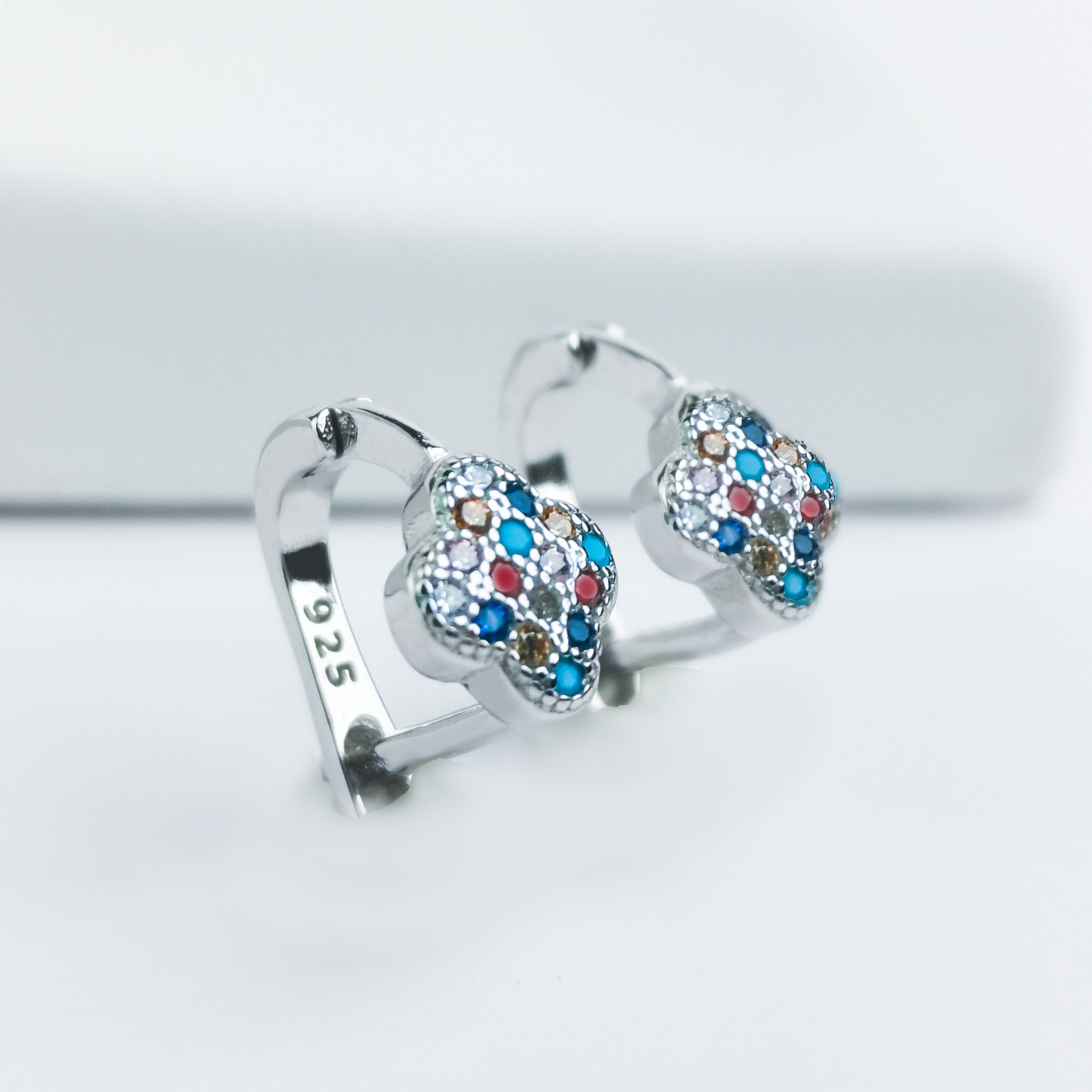 2 - Clover Stones Of Luck Silver Örhänge 925 Modern and trendy earings and women jewelry and accessories