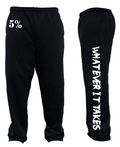 "Rich Piana 5% Apparel Sweatpants ""WHATEVER IT TAKES"" svart/vit"