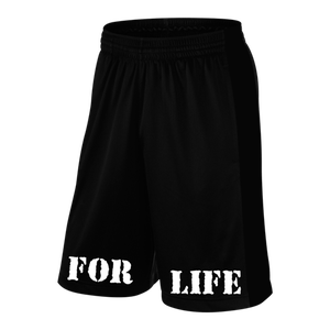 "Rich Piana 5% Apparel Shorts svarta ""FOR LIFE"" i vit"