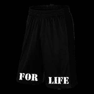 "Rich Piana 5% Apparel Shorts svarta ""FOR LIFE"" i vit"