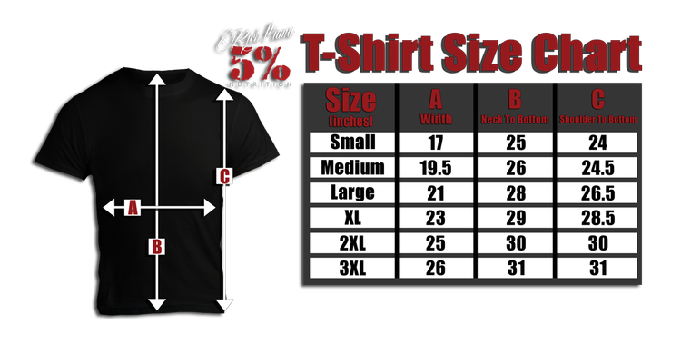 Rich Piana 5% Apparel T-Shirt NO excuses