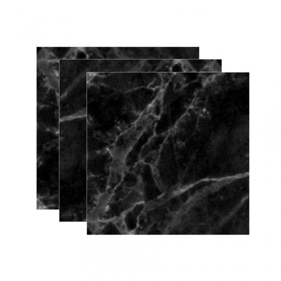 Kakeldekor (12-pack) - Svart marmor