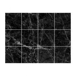 Kakeldekor (48-pack) - Svart marmor