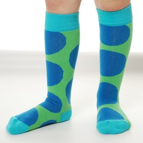 Organic Kneehigh Sock Dots Blue Green