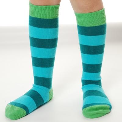 Organic Kneehigh Sock Stripe Turquoise Petrol
