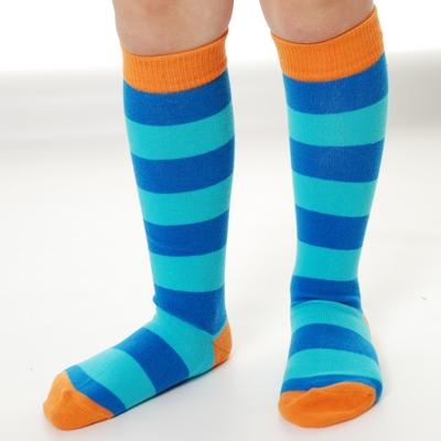 Organic Kneehigh Sock Stripe Blue Turquoise