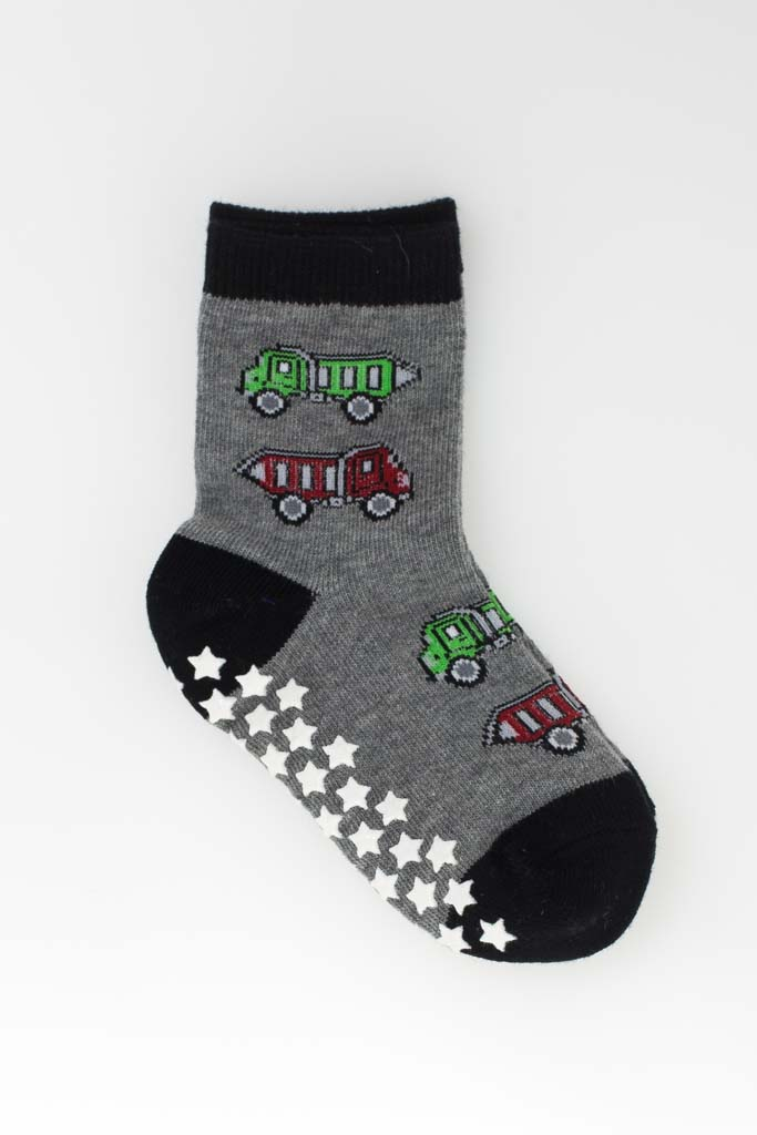 Sockiplast Grey With Red & Green Trucks