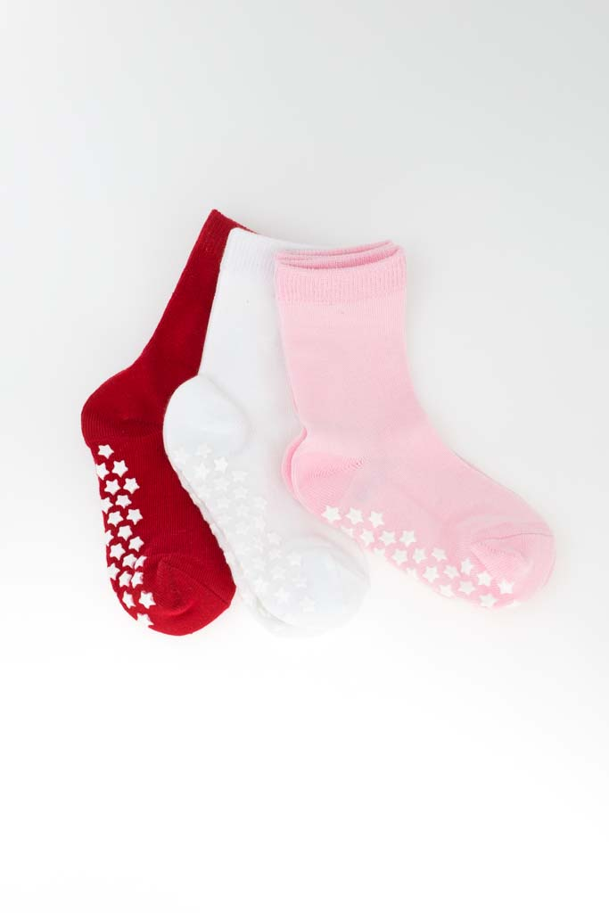 3-pack Sockiplast Red White Pink