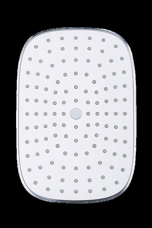 Duschsystem med termostat och tallrik, fyrkantig design m.m