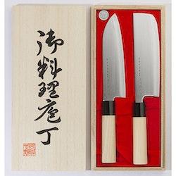 Satake Houcho Knivset 2 delar Santoku och Nakiri