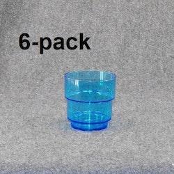 Plastglas travbar klar/blå 6st 12:-(2:00st)