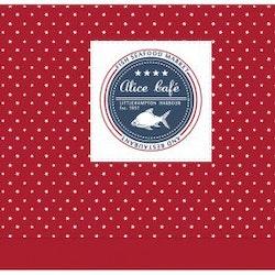 REA! Knythissgardin bredd 160 cm. Färg: Röd med vita stjärnor. Material: 100% bomull.
