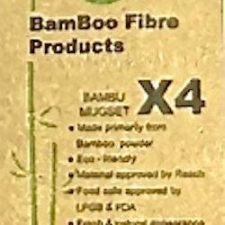 Kaffemuggar i fyrpack från Serholt. Muggarna är tillverkade i naturvänliga bambufibrer. Mått höjd 10 cm dia. 8 cm.