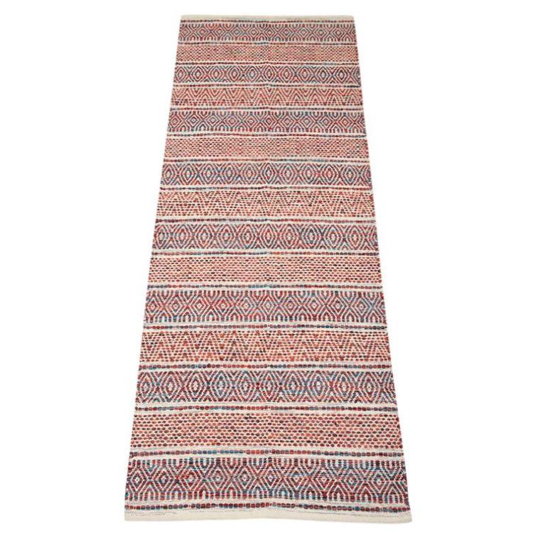 Mindy 70 x 200 cm en härlig bomullsmatta med ett härligt mönster. Färg: Multifärgad i vitt, svart, rött, grönt och rost.
