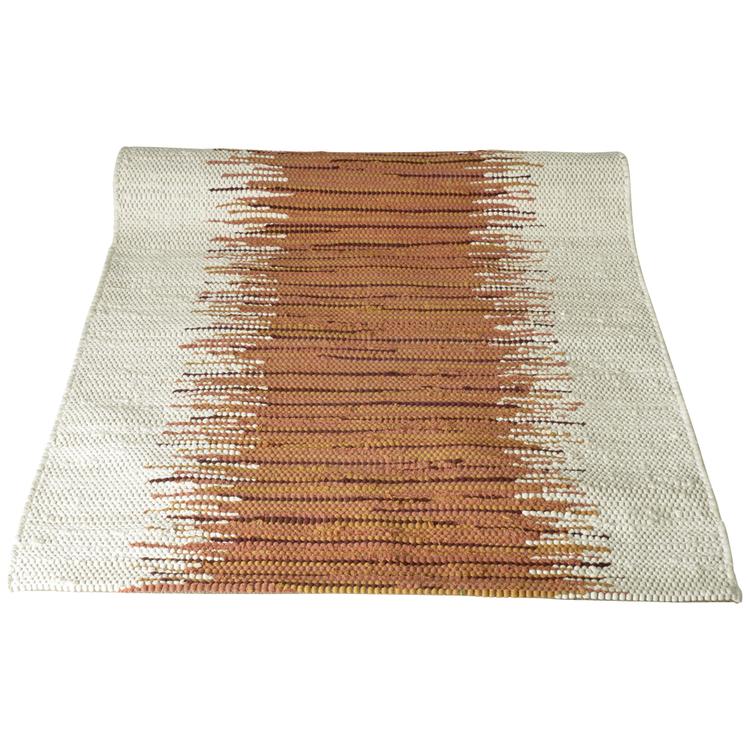 Trasmatta Splash i rost och vitt. 70 x 140 cm.