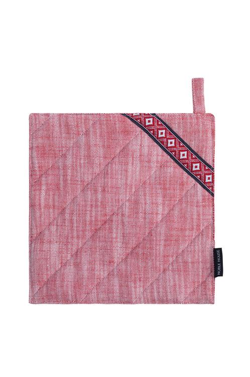 Grytlapp Tella. Färg: Melerad i rött och vitt. Mått: 20 x 20 cm. Material: 100% bomull.