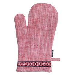 Grytvante Tella. Färg: Melerad i rött och vitt. Mått: 15 x 30 cm. Material: 100% bomull.